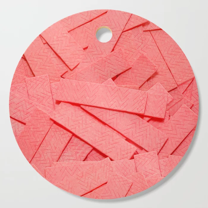 Pink Bubblegum Strips Real Candy Cutting Board By Patterns Soup