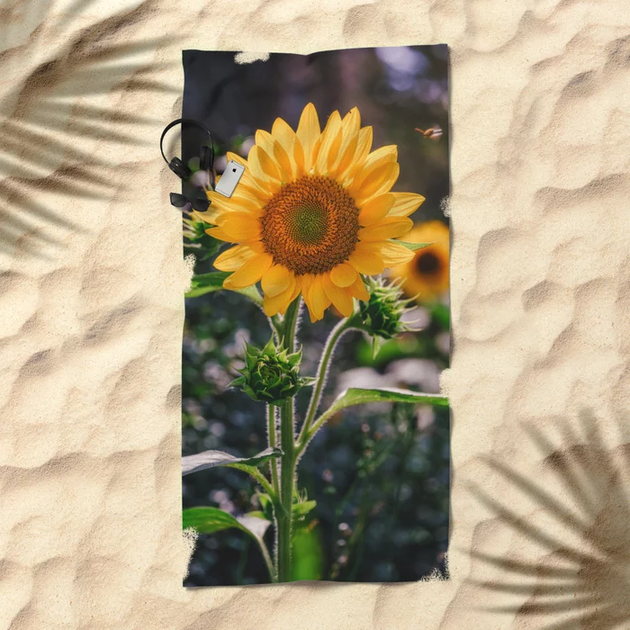 Sunflowers at Noon. Photo Beach Towel.  On Society6