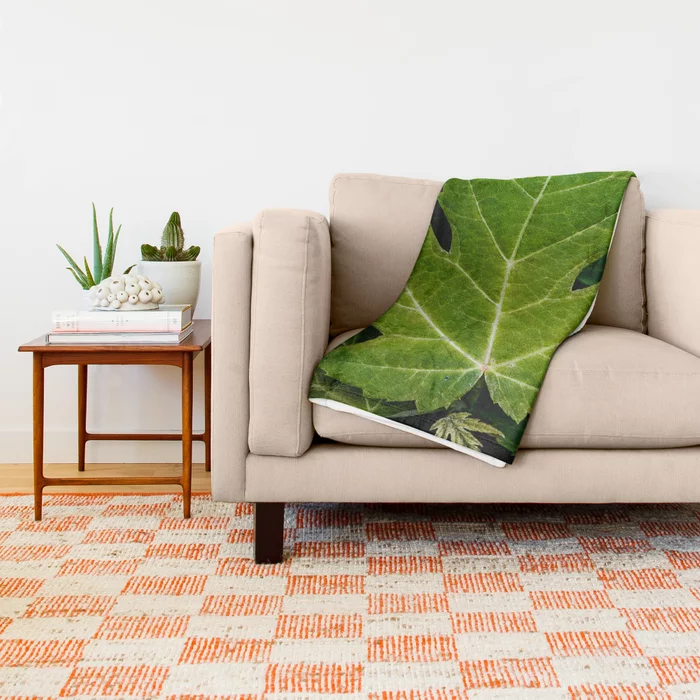 Farewell Green Leaves. Nature Photography Throw Blanket On Society