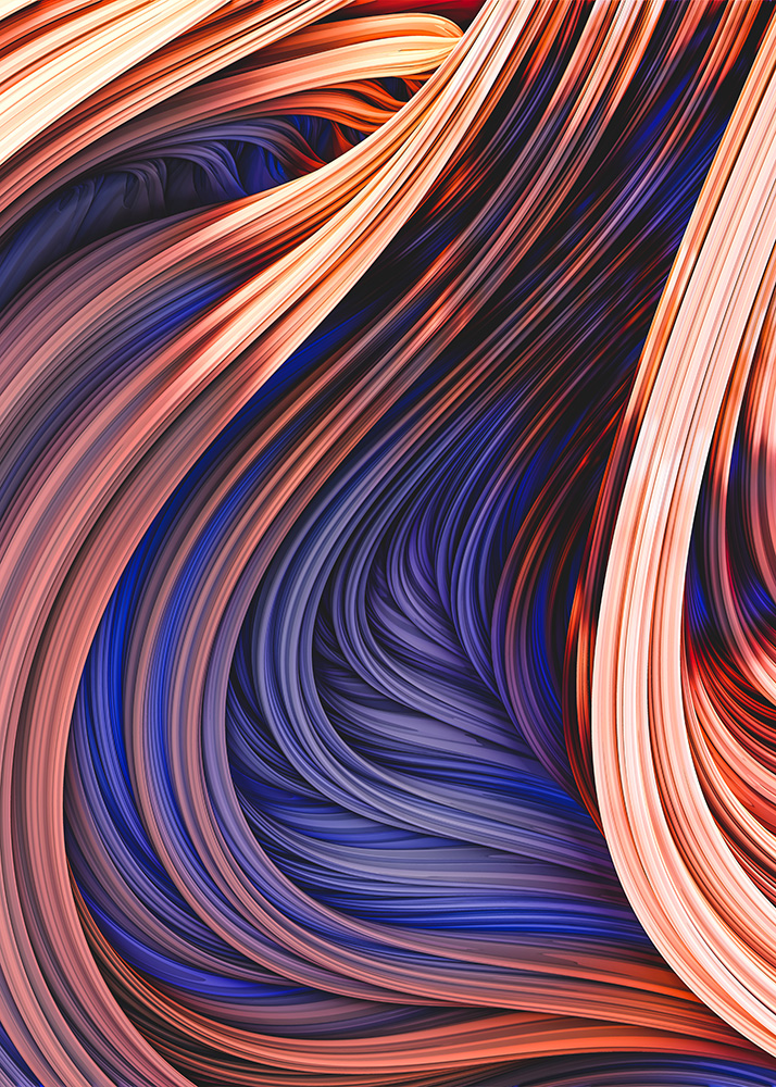 Blue Orange Charcoal Flame Abstract 3D Flow Strands Artwork. By Stephen Geisel, Love-fi.com