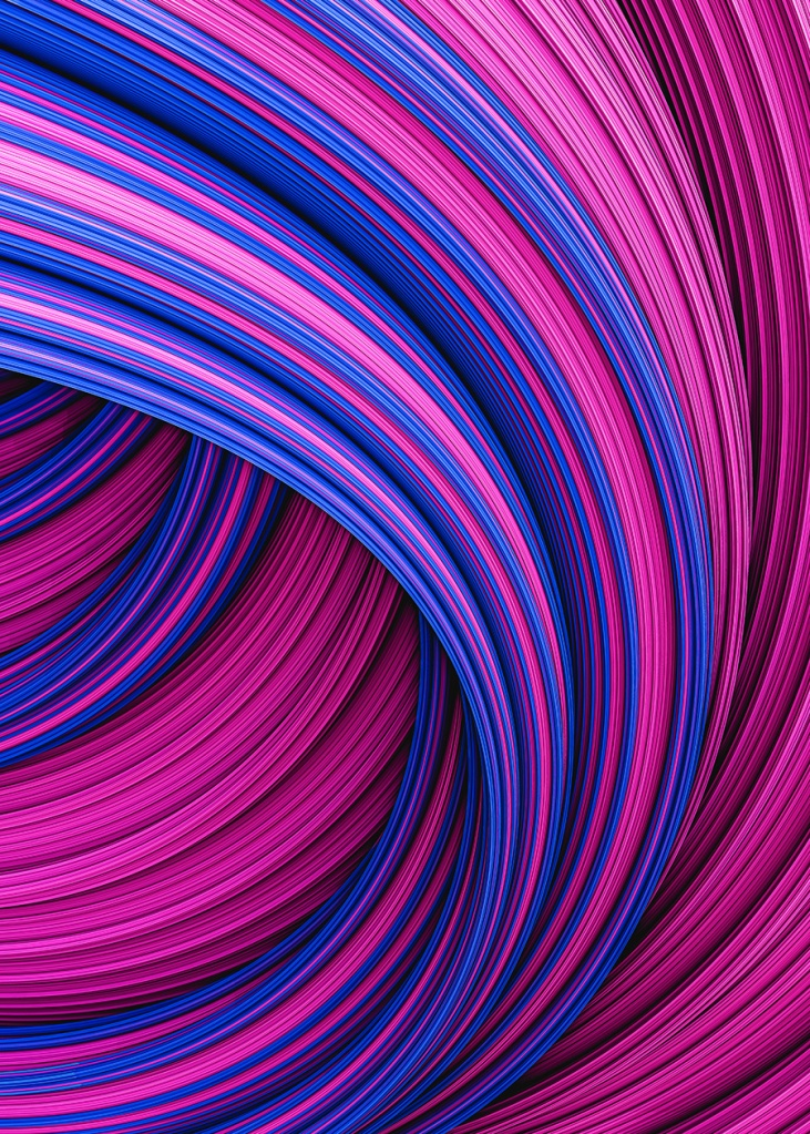 Fountain Flux Pink and Indigo Blue Abstract Minimal Artwork By Stephen Geisel, Love-fi